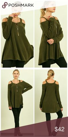 Perfect Open Shoulder Top Open Shoulder Knit Top with a Flowy A-line Body Tops Tees - Long Sleeve