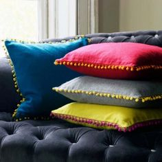 yellow home accessories Felt Gypsy Cushions - Cushions amp; Throws - Treat Your Home - Home Accessories Pink Cushions, Colourful Cushions, Cushions On Sofa, Throw Pillows, Geometric Cushions, Couch, Velvet Cushions, Outdoor Cushions, Yellow Home Accessories