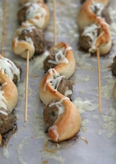 Meatball Subs on a Stick ~ A super fun spin on the classic! This recipe uses turkey meatballs so they are lowfat as well as delicious!