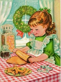 Vintage christmas greeting card, retro, classic, baking cookies