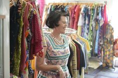 Lisa in vintage dress surounded by vintage dresses inside Atomic Martini Vintage in Clayfield Brisbane Shopping, Martini, Vintage Shops, Vintage Dresses, Kimono Top, Cover Up, Vintage Fashion, Sari, Lisa