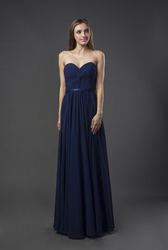 E110 Knot Bust Long Chiffon Bridesmaid Dress