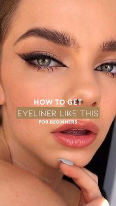 Makeup Tutorial Eyeliner, Makeup Looks Tutorial, No Eyeliner Makeup, Skin Makeup, Cat Eye Eyeliner, Brown Eye Makeup Tutorial, Eye Liner, Makeup Eye Looks, Eyeliner Looks
