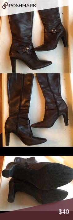 Anne Klein Dark Brown Boots Anne Klein Dark Brown Boots with 3 1/4 inch heel.  Gently worn a few times.  In great condition.  Size 6.5 Anne Klein Shoes Heeled Boots