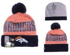 a77483516e09be Mens / Womens Denver Broncos New Era NFL Word Fuzz Vivid Team Graphic  Cuffed Knit Pom Pom Beanie Hat - Navy / Orange