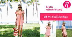 Kostenloses Nähanleitung für ein Damenkleid im angesagten Off-Shoulder-Look ❤ Einheitsgrösse ❤ leicht zu nähen ✂ Nähtalente.de besuchen ✂