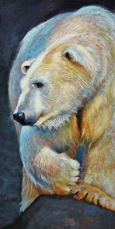 'Polarizing' acrylic polar bear painting Linda Wilder Creative Expressions