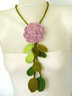 crochet rose necklace in ash pink and green