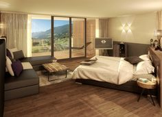 NEW #LIFESTYLE #SUITE, 55 m²  New alpine-lifestyle design suite (including 10 m² south-facing loggia) with extra-large comfort beds with thermo regulatory properties (210 x 200) with panoramic view and wellness infrared sauna. The Lifestyle Suite also features: oak floor, minibar, hairdryer, spa bag and bathrobes, sauna towels and bath towels, large rainshower, WC, bidet, safe, telephone, Flat-TV, WiFi, underground parking space, relax-lounge on the balcony.