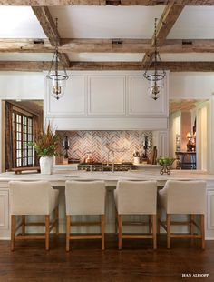 Gorgeous ...Open #kitchen with brick and rustic beams. #design