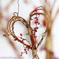 Ashbee Designs - Valentine-Idea-Twig-Heart. Would make a fun garland!