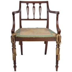 Early 20th Century Edwardian Sheraton Style Mahogany Armchair | From a unique collection of antique and modern side chairs at https://www.1stdibs.com/furniture/seating/side-chairs/