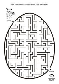 Free Online Printable Kids Games - Easter Egg Hunt Maze