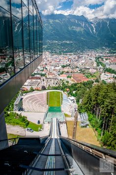 Looking down at the ski slope at Bergisel ski jump Innsbruck