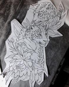 Jaguar big cat floral flower tattoo, love but I would do black panthers! Cute Tattoos, Leg Tattoos, Beautiful Tattoos, Flower Tattoos, Body Art Tattoos, Sleeve Tattoos, Tattos, Cat Tattoo Designs, Tattoo Design Drawings