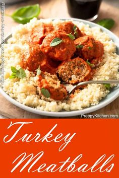 Spanish Inspired Easy Oven Baked Turkey Meatballs In A Spicy Romesco Sauce Is The Perfect Weeknight Dinner Recipe Meatball Recipes, Turkey Recipes, Meat Recipes, Healthy Recipes, Turkey Dishes, Fall Recipes, Delicious Recipes, Easy Dinner Recipes, Beef