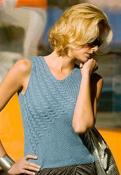 Found it! Natalie Tank in Solaris knitting pattern included in Bright Knits Big City pattern book