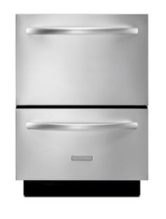 """KitchenAid Architect Series II 24"""" Stainless Steel Double-Drawer Refrigerator - KDDC24RVS/ 5.1 Cu. Ft. Capacity/ Electronic Controls With Display/ SatinGlide Full Extension Drawers/ Interior LED Lights/ Stainless Steel Finish"""