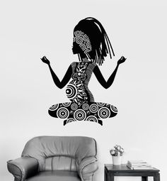 Wall Vinyl Decal Pregnant Woman Yoga Buddha by BoldArtsy on Etsy