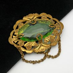 Vintage Art Nouveau Rhinestone Brooch Sash Pin Faceted Green Art Glass Rhinestone Large by prairierosejewels on Etsy