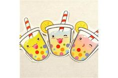Cute Tropical Tapioca Bubble Tea Stickers: by BeagleCakesArt Tapioca Bubble Tea, Boba Bar, Tea Wallpaper, Tea Illustration, Rainbow Bubbles, Tea Design, Logo Design, Summer Gifts, Cute Stickers