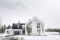 WINTER HOUSEarchitecture by: a-conceptinteriors: mitotulocation: Poland Modern Barn House, Modern Mansion, Modern House Design, Home Building Design, Building A House, Minimalist Architecture, Architecture Design, Dream House Exterior, Winter House