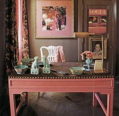 pretty pink desk for home office