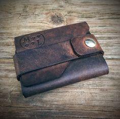 Brown Leather Minimalist Wallet, Flap Wallet, Wrap Wallet, Pouch Wallet, Front Pocket Wallet, Snap Wallet, Men's Wallet