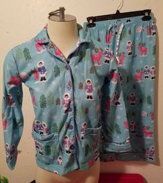 3736fb2472 M 7 8 Girls NICK  amp  NORA Flannel Pajama Set Blue Eskimo Ice Fishing