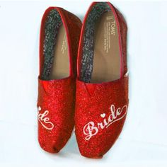 $10 OFF with code: PINNED10 Women's classic slip on Glitter Toms Red Wedding Bride Shoes