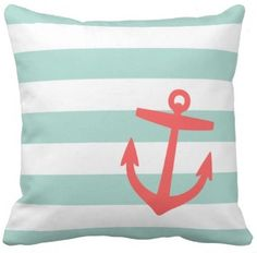 mint and coral striped pillow with an anchor!
