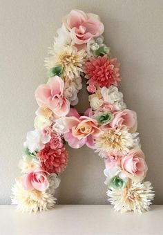 Floral Letter Large Flower Letter, Floral Initial, Custom Floral Letter Nursery, Shabby Chic Decor, Floral Monogram Floral Brief 24 große Blume Brief - Baby Shower Decor Nursery Letters, Nursery Monogram, Letter Monogram, Monogram Initials, Floral Nursery, Blush Nursery, Chic Nursery, Nursery Art, Nursery Ideas