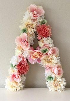 Letra Floral grande flor letra florales Baby por BegoniaRoseCo
