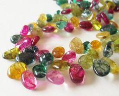 Multi Colored Quartz Beads Dyed Quartz Teardrop Pear by BijiBijoux