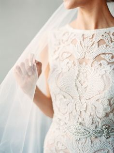 How stunning is the detail and texture in this lace BHLDN gown?!