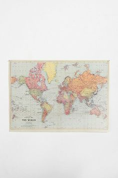 World Map Poster. Leave it out of the frame and use push-pins to mark where you've been.