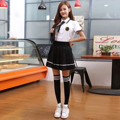 2017 summer Style Women Students Suit Skirt Japanese Knitted Cute Female Cotton Uniforms Sets Korean School Girls Uniform
