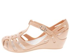 ZX1K NUDE JELLY T-STRAP KIDS WEDGE ONLY $10.88