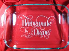 Personalized 3qt Pyrex Baking Dish Style 1 by LaserScribeIt, $25.00.  Have it personalized with their wedding info.  Contact for design options
