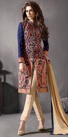 Achkan Style Blue Color with Lace Work Astounding Salwar Kameez.