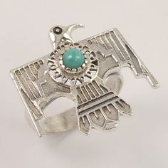 Natural TURQUOISE Gemstone 925 Sterling Silver Eagle Style Ring Size UK P 1/2 #Unbranded #Fashion