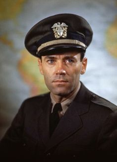 Lt. Henry Fonda (1905 - 1982) during his military service on board the USS Bearss, summer 1945. (Photo by PhotoQuest/Getty Images)