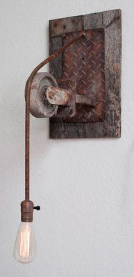 Rustic Vintage Style Wall Light with Einstein Bulb Iron Barn Wood Steampunk | eBay