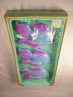 Three (3) Blue & Purple Betta Fish Goldfish Miller Wall Plaque Chalkware UNUSED