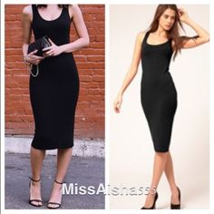 Black midi dress ONE  HOUR SALE Chic black midi dress great fit and style PLEASE DON'T PURCHASE THIS LISTING WILL MAKE YOU A PERSONALIZED LISTING THANKS Dresses Midi