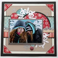 A little busy in the centre for my liking, but I like the mat corners tied in to colour closer to the photo Scrapbook Designs, Scrapbook Sketches, Scrapbook Page Layouts, Scrapbook Cards, Scrapbooking Ideas, Christmas Scrapbook Pages, Winter Crops, Picture Layouts, Photo Cards