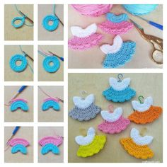 icu ~ Crochet Mini Baby Shower Favors with Free Patterns - Haken, Breien haken en Haakpatronen ~ This post shows you how to Crochet Mini Baby Shower Favors with Free Patterns. Sweet and easy Mini Dresses are perfect for Baby Shower. Crochet Dolls, Crochet Crafts, Crochet Projects, Diy Crafts, Baby Favors, Baby Shower Favors, Crochet Motifs, Crochet Patterns, Crochet Ideas