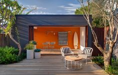 great pool house hideout... and love the color mix too