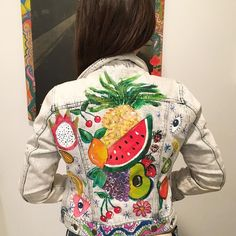 hey! Wanna make this jacket? Join me for a workshop at @dustyrosevintage on February 4 where we will be creating hand painted and bedazzled garments that inspire love and joy! More info and tickets at http://ift.tt/1cNa3MO ! Also- this jacket is for sale - dm me for info