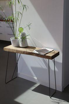 Table d'appoint bois et métal par AntoineGmobilier sur Etsy, €250.00